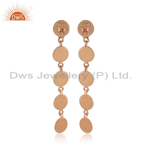 Designer of Handmade rose gold plated silver designer plain silver earrings