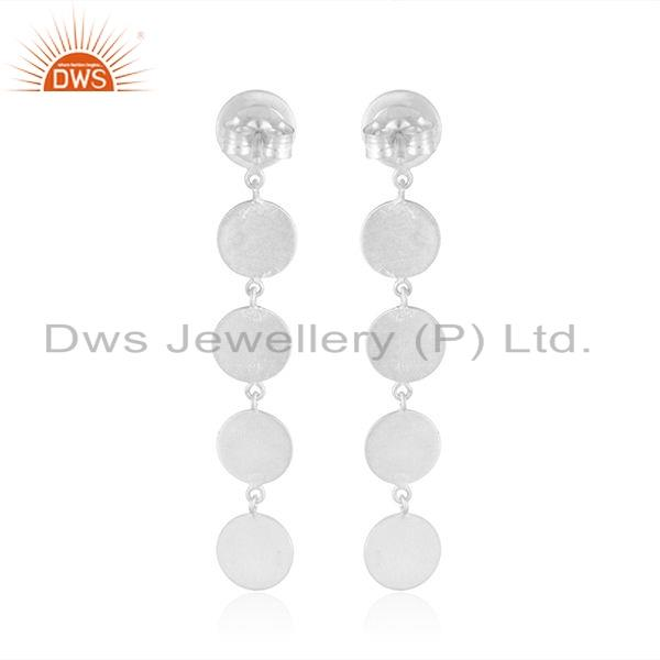 Suppliers Hot Look Sterling Plain Silver Designer Girls Dangle Earrings Jewelry