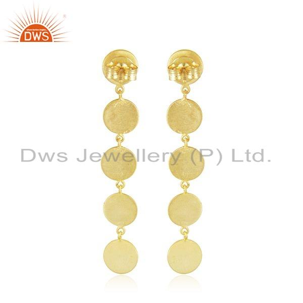 Suppliers 14k Gold Plated Leaf 925 Plain 925 Silver Earrings Jewelry For Girls
