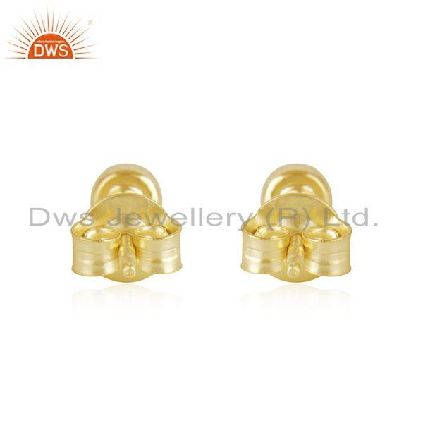 Suppliers Handmade Plain 925 Sterling Silver Yellow Gold Plated Stud Earrings