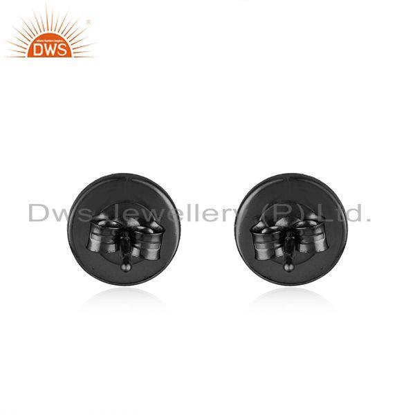 Suppliers 925 Sterling Plain Silver Black Rhodium Plated Stud Earrings Supplier