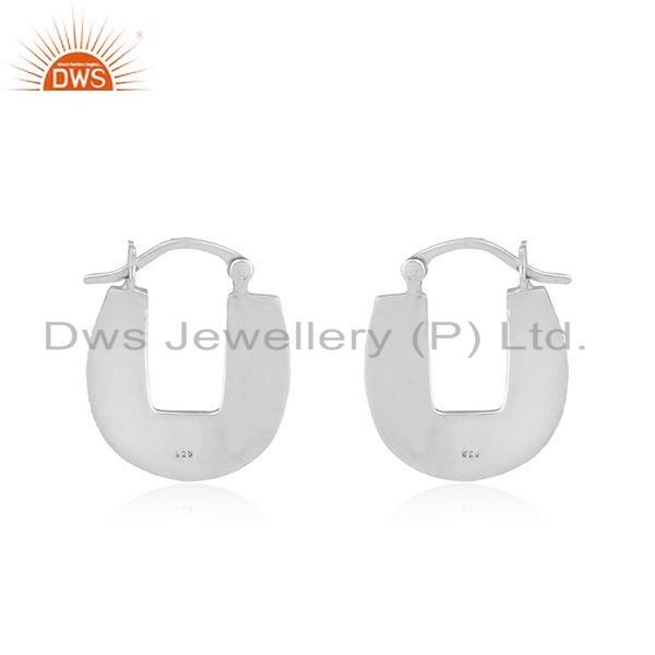 Suppliers Oxidized Texture Sterling Plain Silver Earrings Jewelry For Girls