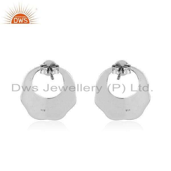 Suppliers Handmade Texture 925 Sterling Plain Silver Oxidized Earrings Jewelry