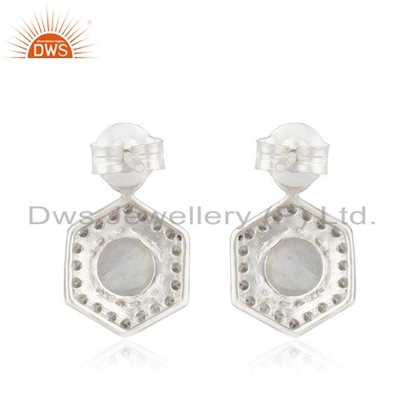 Suppliers Indian Silver CZ Rainbow Moonstone Gemstone Designer Earrings Jewelry