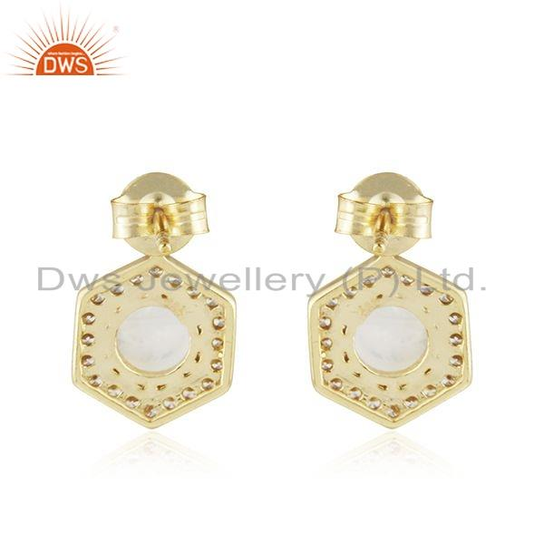 Suppliers Rainbow Moonstone CZ Gemstone Gold Plated Silver Girls Earring Jewelry