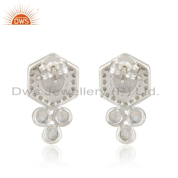 Suppliers Rainbow Moonstone CZ 925 Silver Designer Earrings Jewelry For Womens
