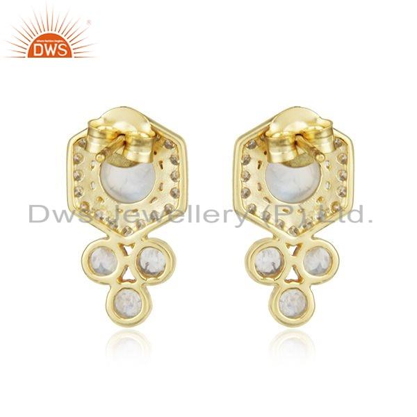Suppliers Designer Rainbow Moonstone CZ Gold Plated 925 Silver Earrings Jewelry