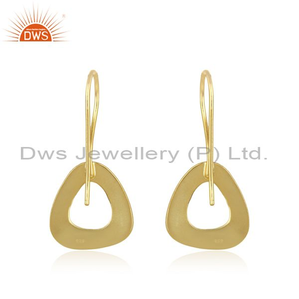 Suppliers Gold Plated Designer Plain Silver Fashion Earrings Jewelry For Girls