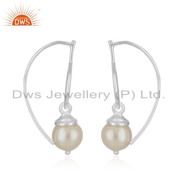 Suppliers Handmade Designer Sterling Fine Silver Natural Pearl Earrings Jewelry