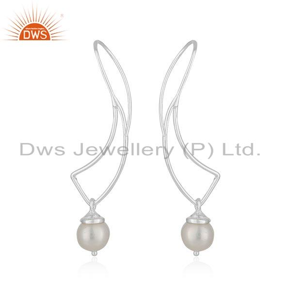 Suppliers New Look Fine Silver Wholesale Natural Pearl Gemstone Earrings Jewelry