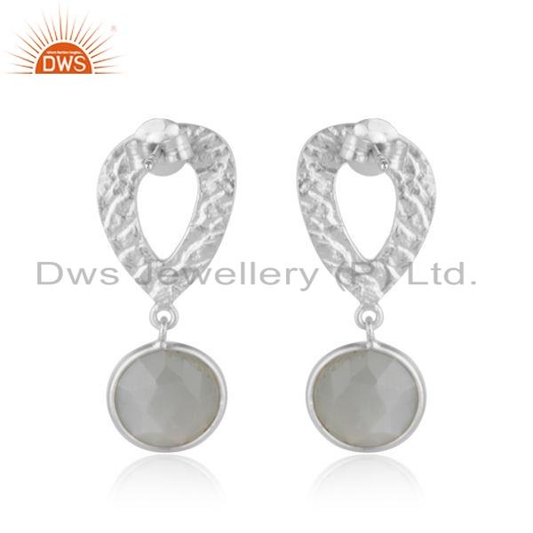 Suppliers 925 Silver Gray Moonstone Gemstone Texture Handmade Earrings Jewelry