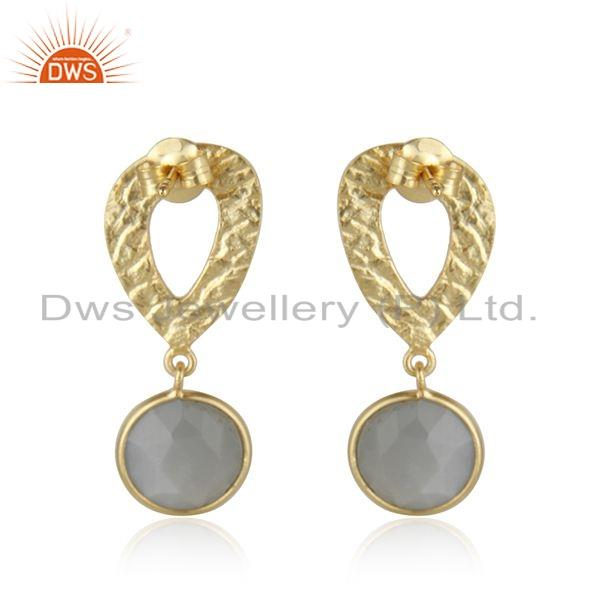 Suppliers Texture Gold Plated Silver Gray Moonstone Gemstone Earrings Jewelry