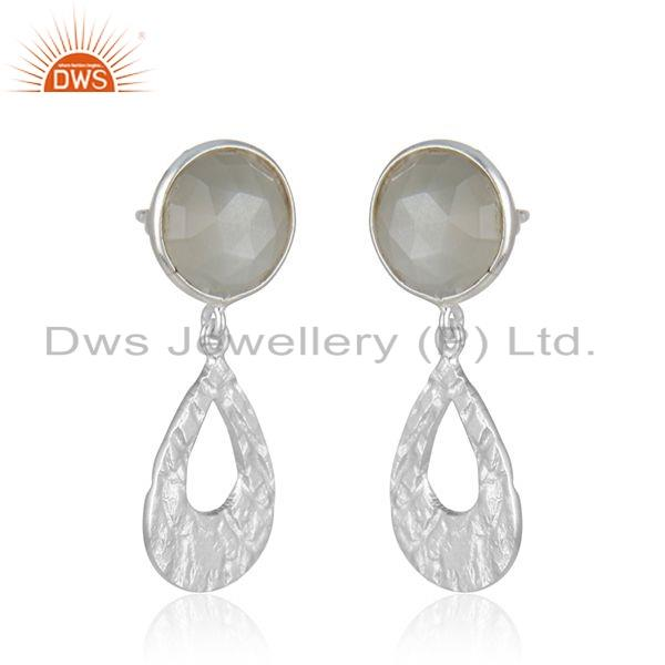 Suppliers Gray Moonstone Gemstone Texture Sterling Silver Earrings Jewelry