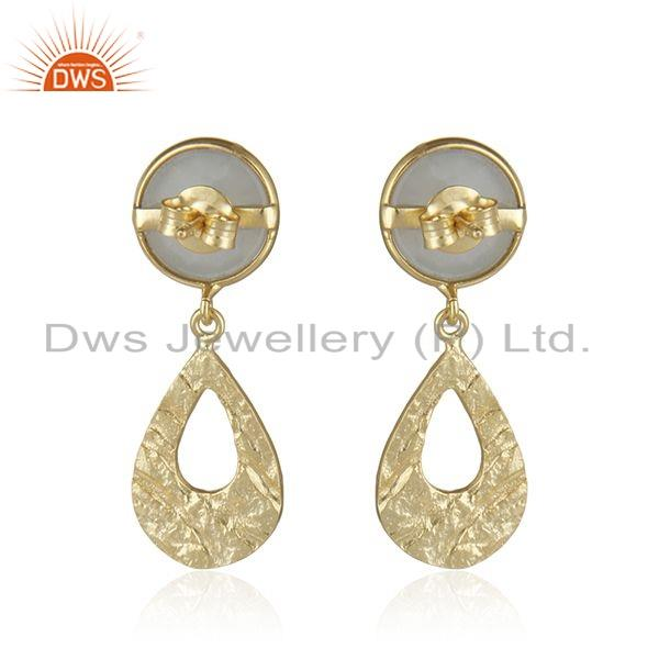 Suppliers Texture Gold Plated Designer Silver Gray Moonstone Gemstone Earrings