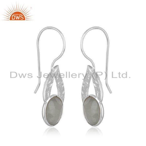 Suppliers Gray Moonstone Gemstone Leaf Design Sterling Silver Earrings Jewelry