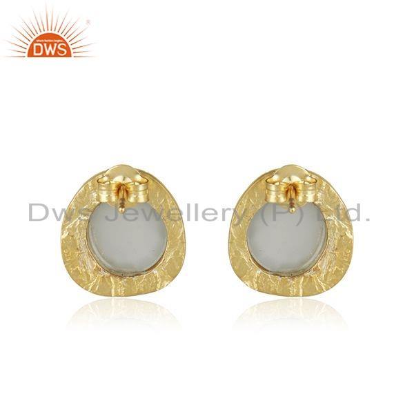 Suppliers Texture Gold Plated 925 Silver Gray Moonstone Gemstone Stud Earrings