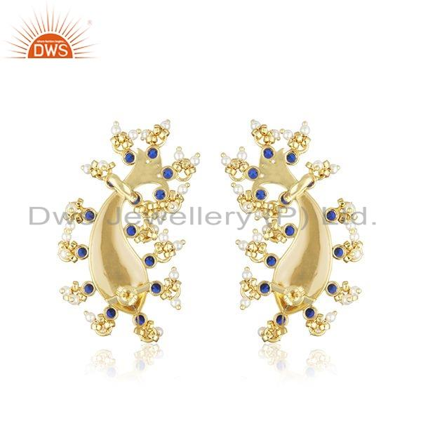 Suppliers Gold Plated Silver Zircon Natural Pearl Statement Fish Stud Earrings