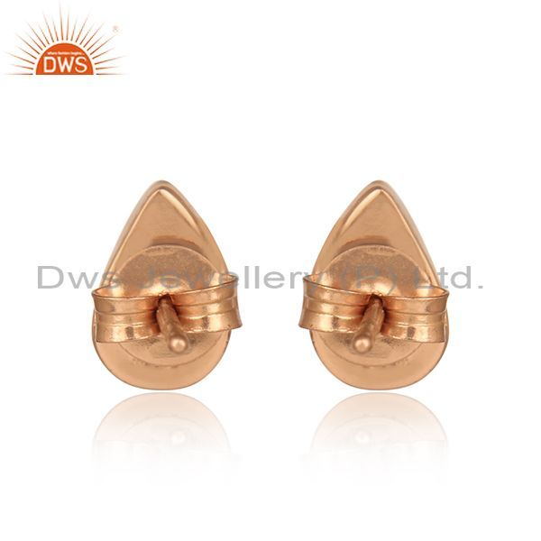Designer of Simple and elegant lapis stud in rose gold on silver 925