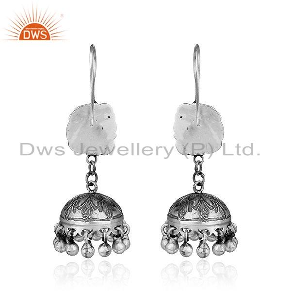 Suppliers Traditional Peacock Design Womens Oxidized Sterling Silver Earrings