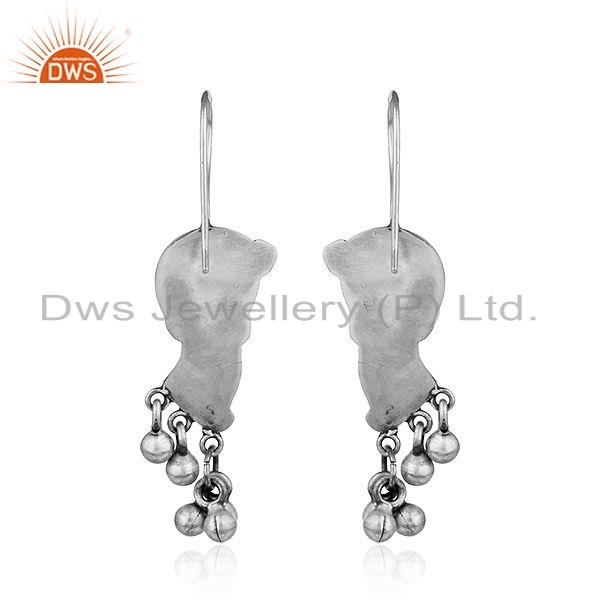 Suppliers Traditional Peacock Design Oxidized Tribal Silver Earrings Jewelry