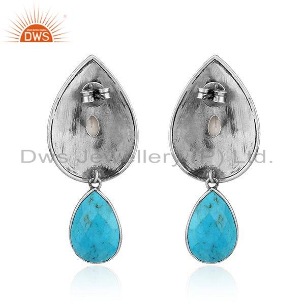 Suppliers New Pearl Turquoise Gemstone Oxidized Tribal Silver Earrings Jewelry
