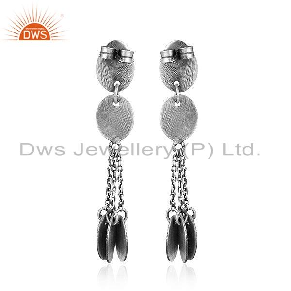Suppliers Handmade Oxidized Plated 925 Sterling Silver Earrings Jewelry