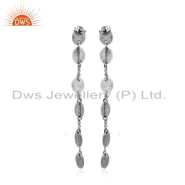 Suppliers New Arrival Oxidized Plated 925 Sterling Silver Chain Dangle Earrings