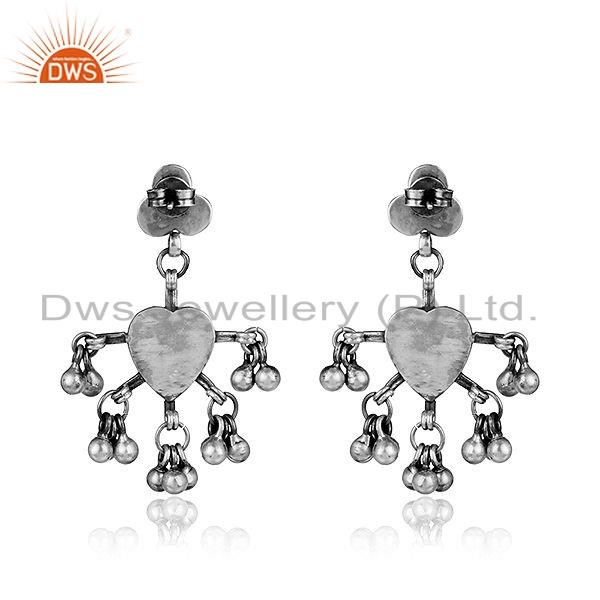 Suppliers Floral Designer Oxidized Sterling Plain Silver Earrings Tribal Jewelry