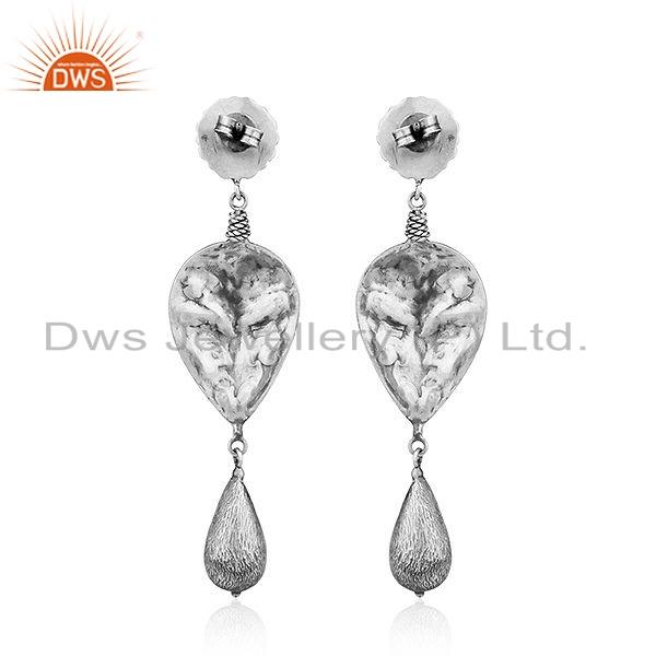 Suppliers 925 Sterling Silver Oxidized Floral Design Earrings Jewelry For Girls