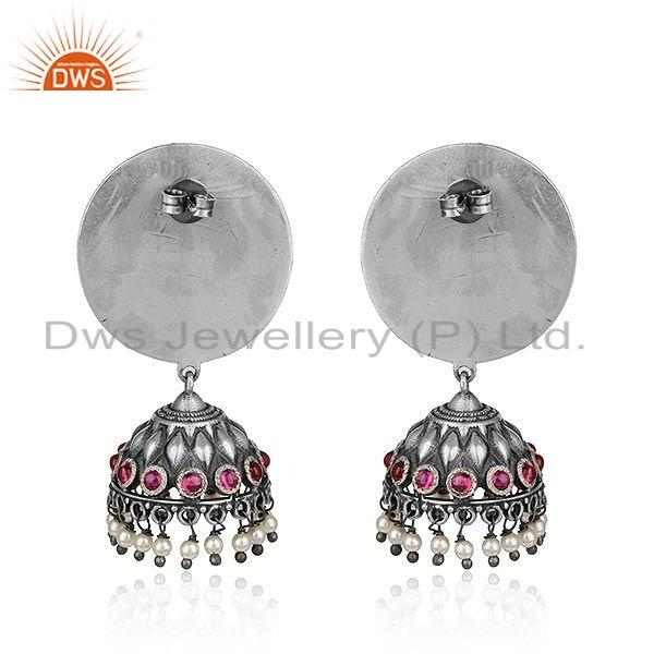 Suppliers Pink Hydro  Natural Pearl Oxidized Tribal 925 Silver Jhumka Earrings