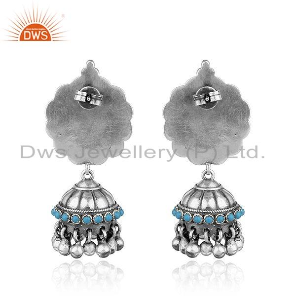 Suppliers Floral Design Oxidized 925 Sterling Silver Turquoise Gemstone Earrings
