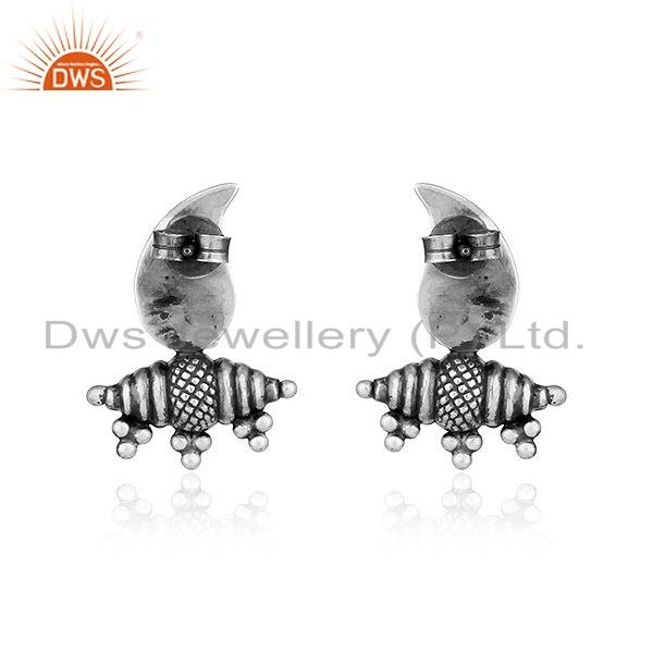 Suppliers Handmade Oxidized 925 Sterling Plain Silver Antique Earrings Jewelry