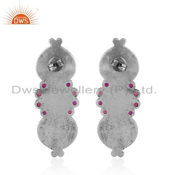 Suppliers Antique Oxidized Hydro Pink Gemstone Floral Design Silver Earrings