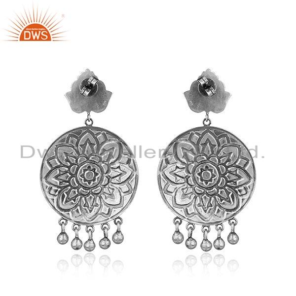 Suppliers Hand Carved Designer Oxidized Sterling Plain Silver Earrings Jewelry