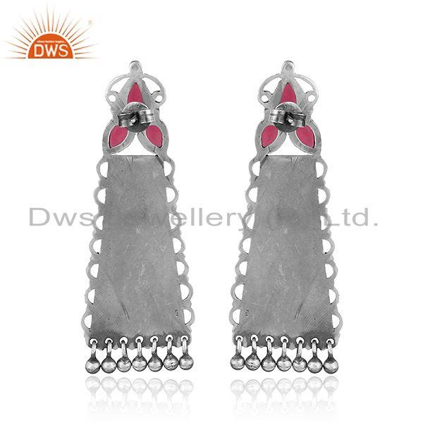 Suppliers Floral Carved Hydro Pink Gemstone Oxidized 925 Silver Earrings Jewelry