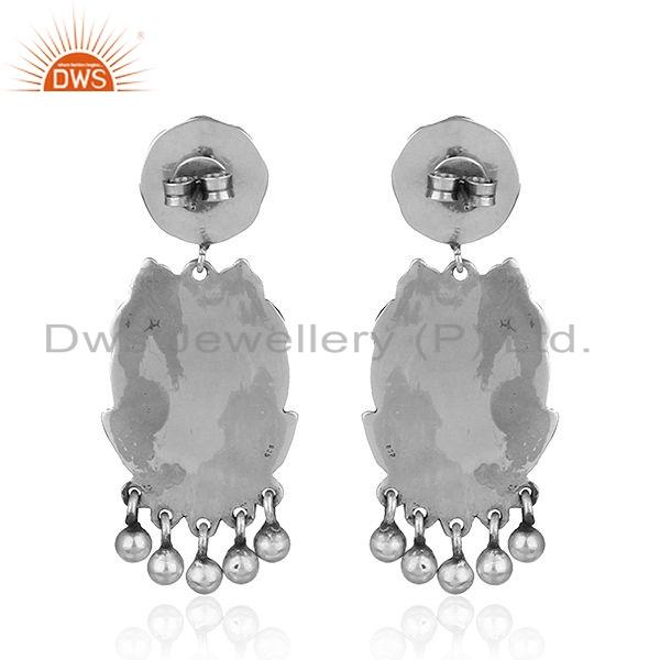 Suppliers Lord Ganesh Oxidized Sterling Plain Silver Temple Earrings Jewelry