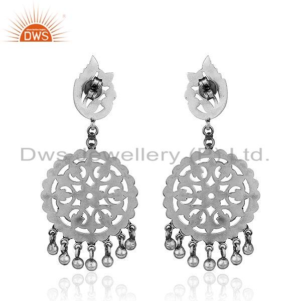 Suppliers Round Disc Design Oxidized Antique Sterling Silver Earrings Jewelry