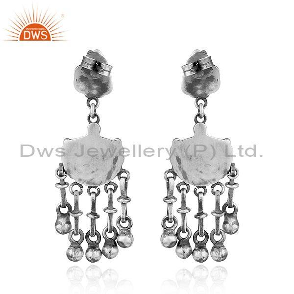 Suppliers Lord Ganpati Design Traditional Oxidized 925 Sterling Silver Earrings