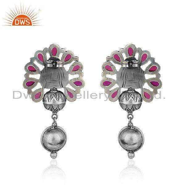 Suppliers Floral Shape Oxidized 925 Sterling Silver Hydro Pink Gemstone Earrings