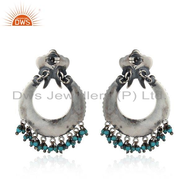 Suppliers Antique Oxidized Peacock Design Turquoise Gemstone Silver Bali Earring