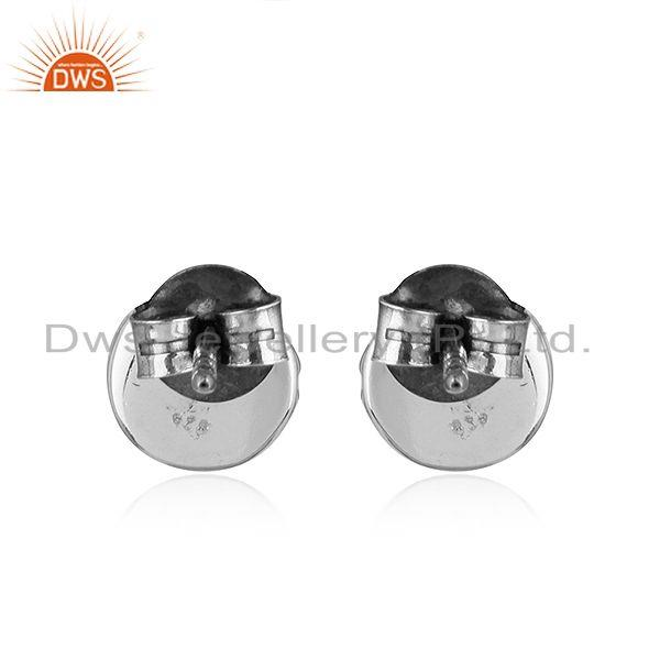 Suppliers Round Oxidized 925 Silver Natural Amethyst Gemstone Stud Earrings