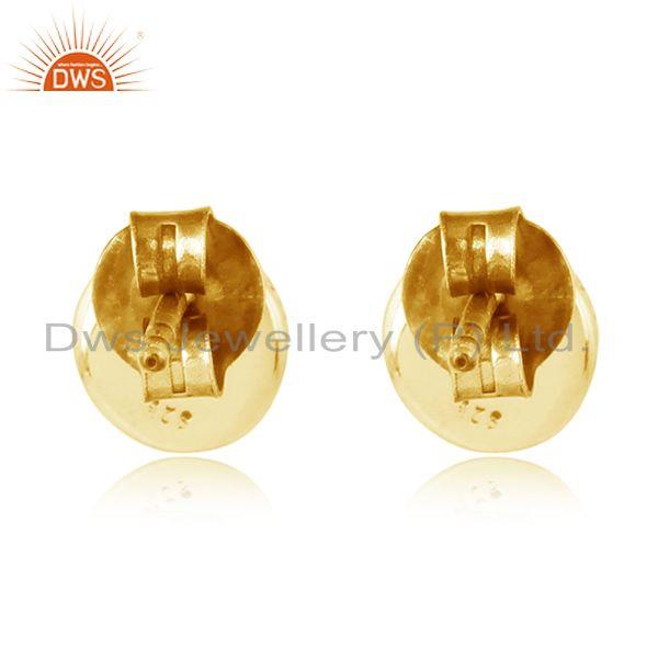 Designer of Round gold plated wondring design silver amethyst stud earrings