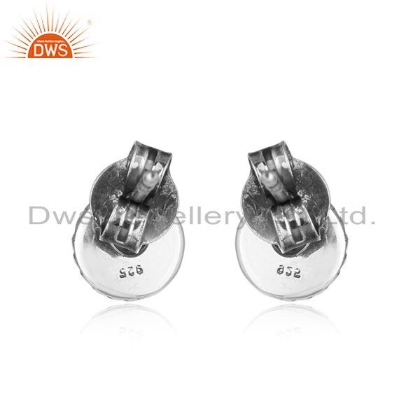 Designer of Blue sapphire gemstone oxidized sterling silver tiny stud earrings
