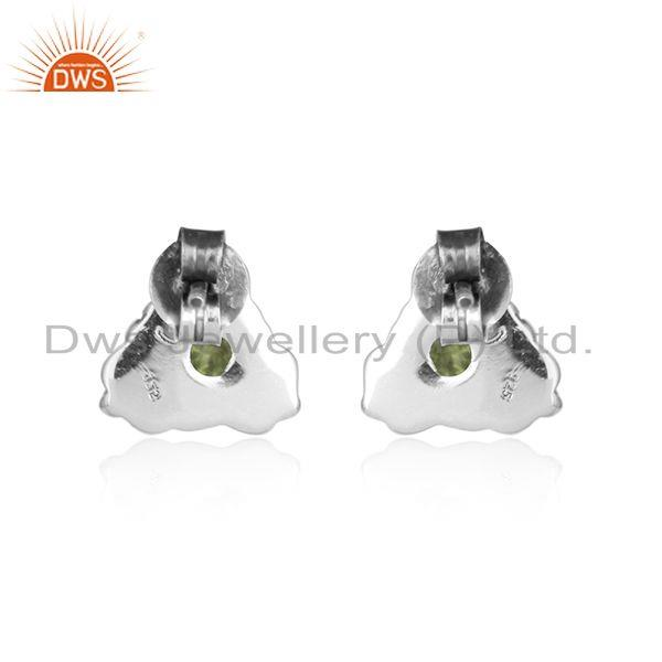 Designer of Pridot gemstone womens oxidized 925 sterling silver stud earrings