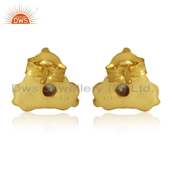 Designer of Natural pearl gemstone designer silver gold plated stud earrings