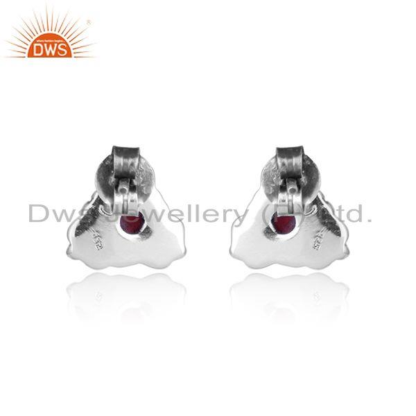 Designer of Pink tourmaline gemstone designer oxidized 925 silver stud earrings