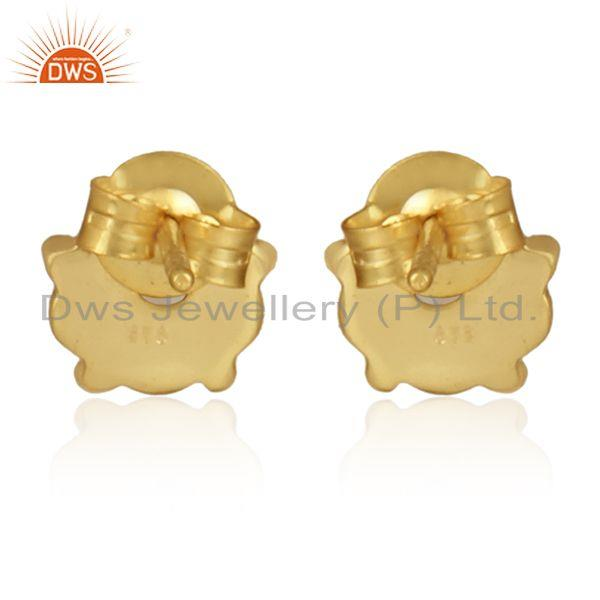 Designer of Natural pearl gemstone handmade gold plated silver round earrings