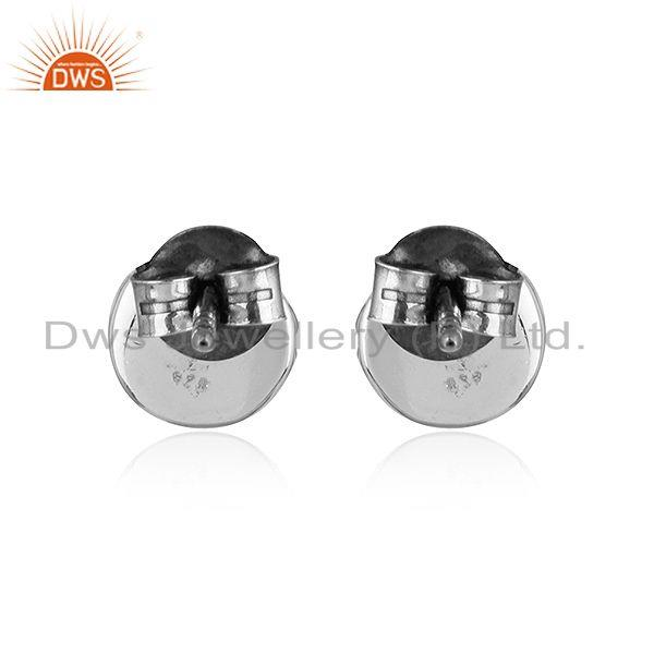 Suppliers Round Antique Design Oxidized 92.5 Silver Amethyst Stud Earrings