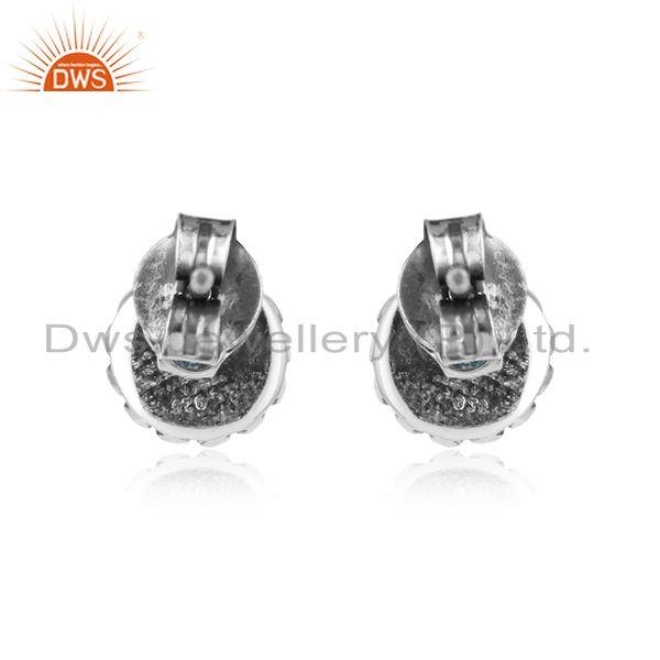 Designer of Oxidized 925 silver blue topaz gemstone antique stud earrings