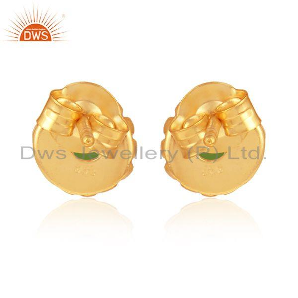 Designer of Flower gold on 925 silver chrome diopside gemstone stud earrings